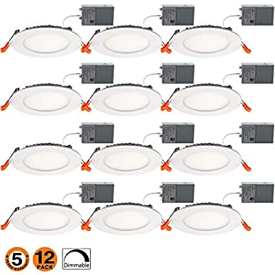 4 Inch Slim Led Downlight 9W Dimmable (65W Equivalent) 650LM 5000K Junction Box Recessed Lighting E-12PK-50k