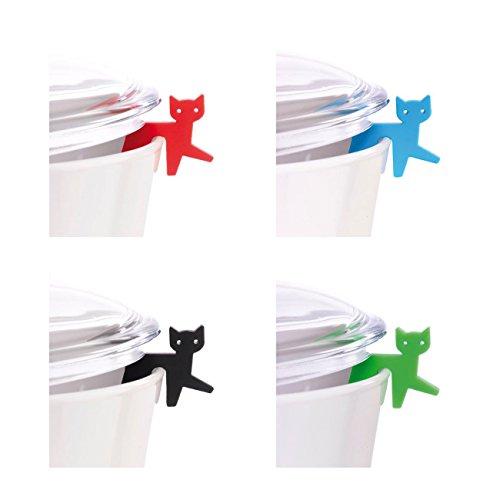 Topfdeckelhalter Katzen aus Silikon 4er-Set I Zubehör für Kochtopf, Pfannen-Deckel und Kochgeschirr I Kleine, Lustige, Bunte Küchenhelfer I Topfwächter Katze I Farbe Rot, Blau, Schwarz, Grün