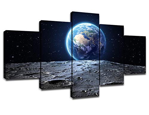 Universe Wall Art Poster Frame Art Outer Space Blue Earth and Moon Surface...