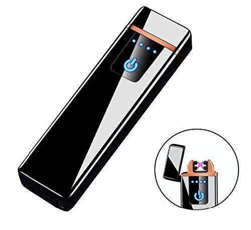 THE NAMCHE BAZAR USB Feuerzeug elektronisches aufladbar, Dual Lichtbogen, Flamme ohne Gas. Premium-Qualität mit Geschenk-Box. SturmFeuerzeug (Schwarz)