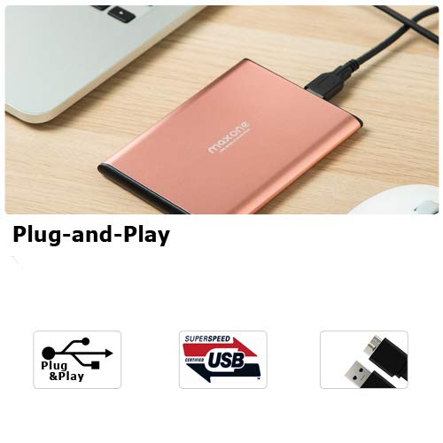 Maxone 320GB Ultra Slim Portable External Hard Drive HDD USB 3.0 for PC, Mac, Laptop, PS4, Xbox one - Rose Pink