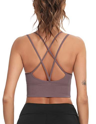 Enjoyoself Damen Sport BH Ohne Bügel Push Up Sport Bra Gepolstert Chic Bustier mit Schnüre am Rücken Leicht BH Top für Yoga Fitness Lila,XL