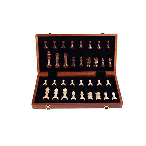 Ajedrez Internacional Conjunto de ajedrez Plegable de Madera, Juego de Mesa de ajedrez con Almacenamiento Interior portátil for niños Principiantes y Adultos (Color : 39CM)