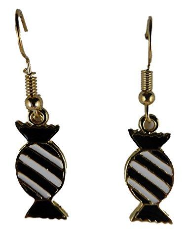 Ohrringe Ohrhänger Hänger goldfarben Bonbon Kamelle Gutsel schwarz / weiß 8181