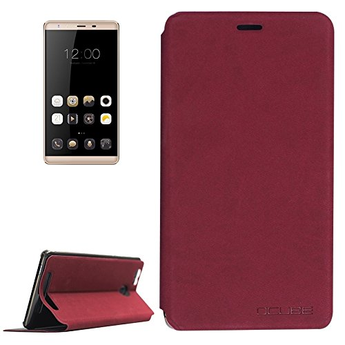 Beautiful Cases & Covers OCUBE LEAGOO Shark 1 (MPH0234) Lambskin Texture Horizontal Flip Leather Case with Holder (Color : Wind red)