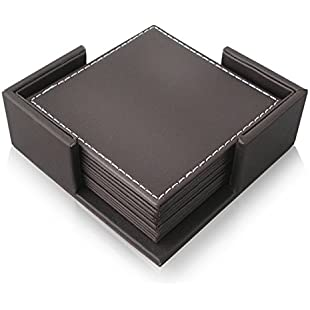 Zubita Coasters Set, 6 Pack Cup Mats Leather PU Square Non Slip Table Mats with Holder for Coffee Beer Mug Wine Glass Bottle Home and Bar (Brown)