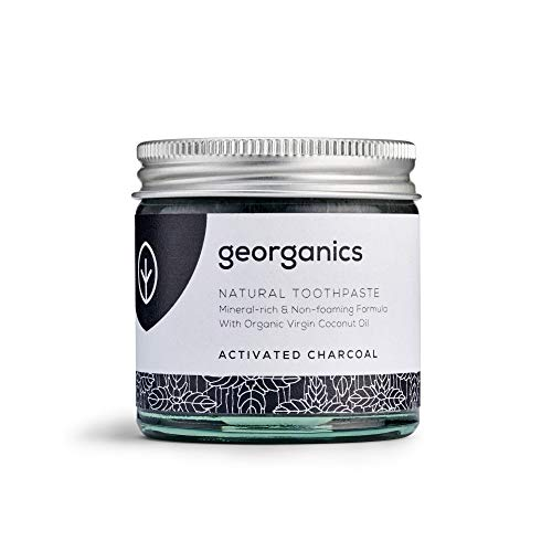 Georganics - Organic Mineral-Rich Teeth Whitening Toothpaste - Non-foaming Formula with Organic Virgin Coconut Oil - Vegan, SLS, Cruelty and Fluoride Free - Activated Charcoal - 60ml