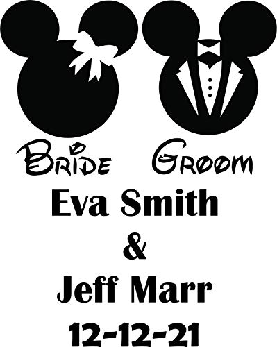 Personalized Name Names Bride and Groom Mickey Ears Happy Married Marriage Wedding Tie The Knot Save The Date Decals/Mr. and Mrs. Big Day Initials Vinyl Art Designs Creative Size 15x15 inch
