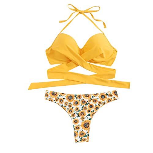 DNOQN Bikini Damen Schwimmen Kostüm Gepolstert Badeanzug Monokini Hochdrücken Bikini-Sets Badebekleidung Zweiteiliger Bikinihose Chrysantheme Schwarz Herstellergröße