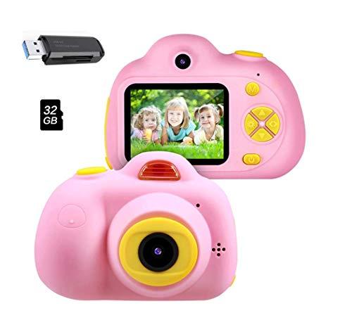 Cámara para niños, 2019 Nueva Cámara de Fotos Digital 2 Objetivos Selfie 8MP Cámara Digital 1080P HD Videocámaras Flash Lights Batería Recargable, Juguetes regalo para niños y niñas 3-10 años (Rosa)