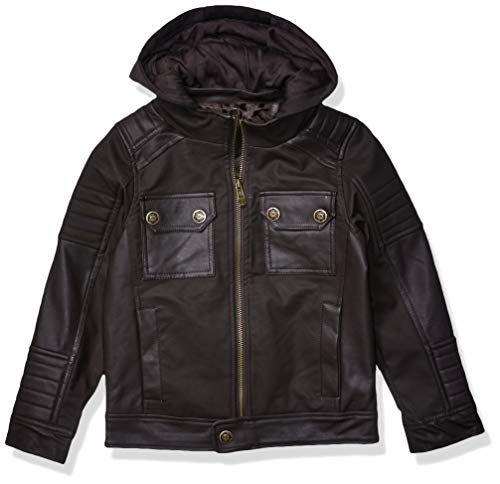 Urban Republic Big Boys Textured Faux Leather Jacket, Darkbrown, 14/16