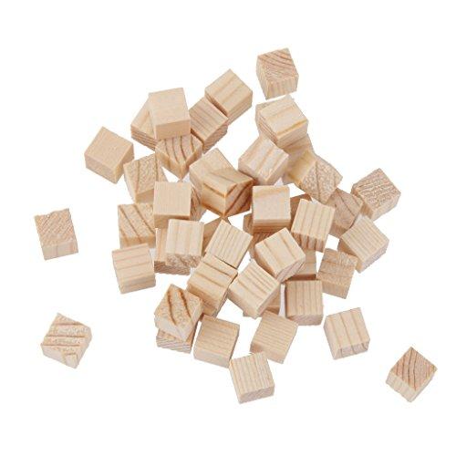 MagiDeal Lot de 50 mini cubes carrés en bois naturel pour loisirs créatifs 1 mm