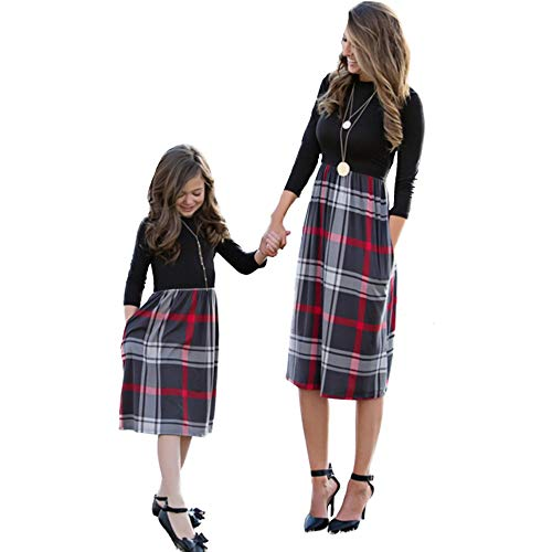 CYICis Mutter Tochter Kleider Familien Matching Outfits Partnerlook Mama Kind Kleid Langärmelig Gitter Elegant Für Herbst und Winter (Kind 10-12 Jahr, Schwarz Rot)