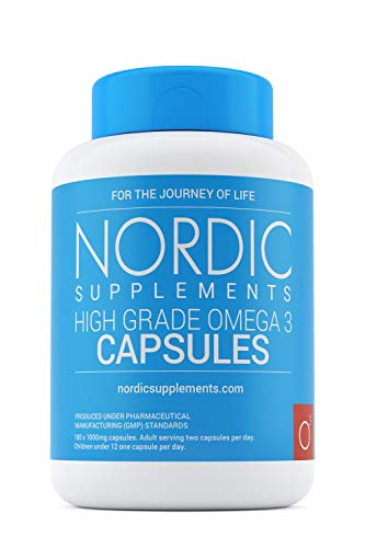 Nordic Supplements High Strength Pharmaceutical Grade Omega 3 Fish Oil 1000mg Capsules - Pot of 180 Capsules