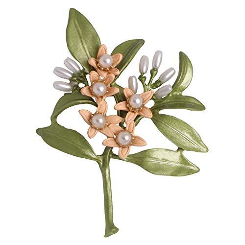 Broche Flor de naranjo Broche de goteo de hoja Verde perla Ramillete de pintura antigua (Y)