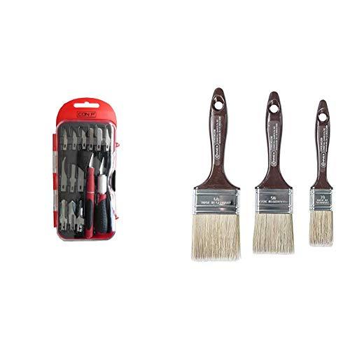 CON:P B20896 Bastlermesserset, 16-teilig & Connex Flachpinselset Lasur, 3 Stück, COXB365200