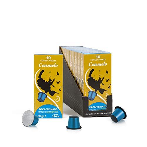 Consuelo - Capsule di caffè espresso compatibili Nespresso - Decaffeinato, 100 capsule in 10 confezioni da 10, nuovo design migliorato