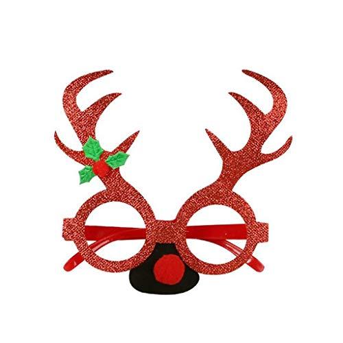 Lester Nell decorazione natalizia bicchieri divertenti occhiali Babbo Natale cappello renna occhiali da sole costume ornamento festa decorazione bicchieri Colore: rosso