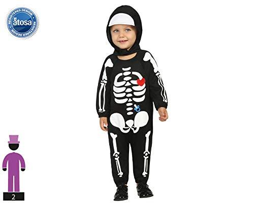 Atosa-61203 Atosa-61203-Disfraz Esqueleto-Bebé + 24 Meses-niño-Negro, color (61203) , color/modelo surtido