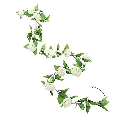 HotYou Guirnalda de Rosas Artificiales, Rosas con Hojas Verdes, 1 Unidades, 245 cm de Guirnalda de Flores para decoración en Bodas en casa,Blanco,1 Pieza