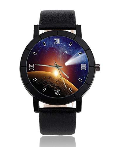 Cosmos - Orologio da polso con sistema solare, cinturino in pelle, stile casual, da uomo
