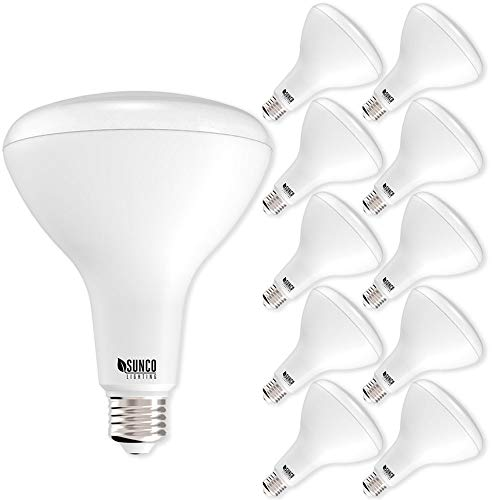 Sunco Lighting 10 PACK - BR40 LED 17WATT (100W Equivalent), 2700K Soft White, DIMMABLE, Indoor/Outdoor Lighting, 1400 Lumens, Flood Light Bulb- UL & ENERGY STAR LISTED
