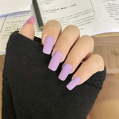 Bretty Ballerina Square Fake Nails Light Purple Long Full Cover Press on Nails Matte Acrylic Flase Nail for Women and Girls (Pack of 24)