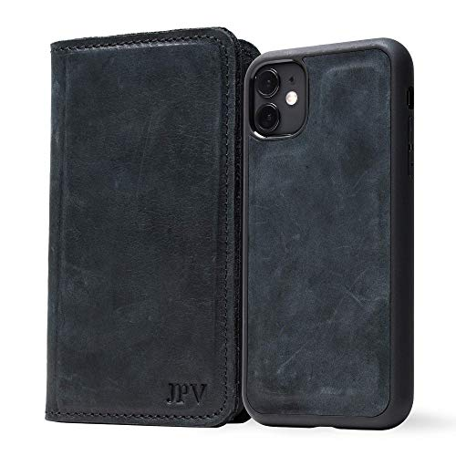 PEGAI Personalized Magnetic Distressed Leather iPhone Wallet Case - McLean (Charcoal, 11)