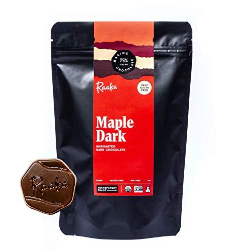 Organic Maple Dark Baking Chocolate by Raaka Chocolate | Gourmet Replacement for Chocolate Chips | Gluten-Free, Vegan, Non-GMO, Kosher | 2-Pack, 8 oz Pouch