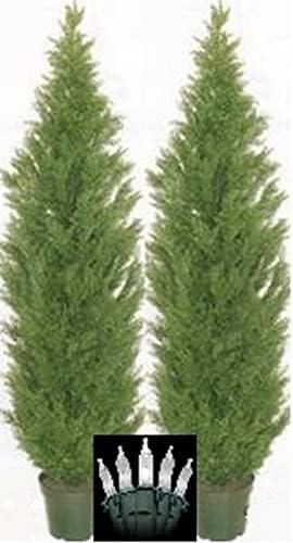 Two 7 Foot Outdoor Las Vegas Mall Artificial Fashionable Cedar Trees Rat Cypress UV Topiary