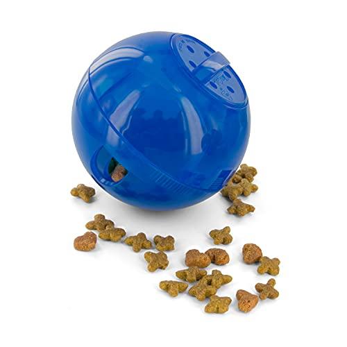 PetSafe SlimCat Futterball für Katzen, Füllkapazität von 150ml Trockenfutter, Snackball verbindet Spielen mit Snacks, spornt zu mehr Bewegung an und hilft Übergewicht vorzubeugen, blau
