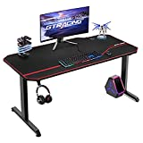 GTRACING Gaming Desk,55 Inch Gaming Table with Detachable Mouse Pad Surface,Professional T-Shaped Carbon Fiber Surface Gaming Table with Headphone Hook and Cable Manage Holes T02(Black)