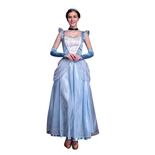 IWEMEK Damen Cinderella Kostüm Aschenputtel Prinzessin Kleid Erwachsene Halloween Karneval Fasching Kostüm Lange Tüll Ballkeid mit Zubehör Märchen Verkleidung Cosplay Festlich Party Outfits M