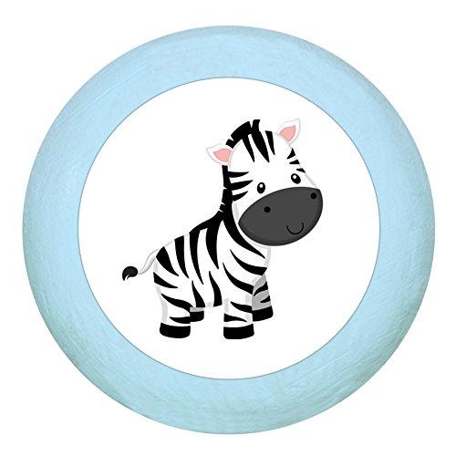 """Holz Buchegriff""""Zebra"""" hellblau zartblau pastellblau pastell Holz Buche Kinder Kinderzimmer 1 Stück wilde Tiere Zootiere Dschungeltiere Traum Kind"""