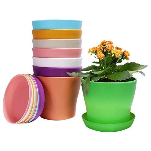 Caiyin 8 Pcs 14cm/5.5'' Plastic Plant Pots with Pallet/Trays, Colorful Plastic Flower Pots, Indoor Plant Pots for Office House Desk