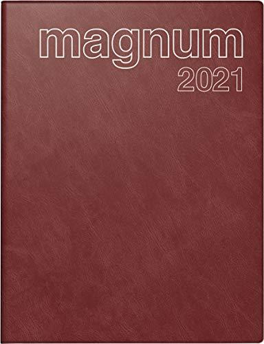 rido/idé 7027042291 Buchkalender magnum, 2 Seiten = 1 Woche, 183 x 240 mm, Schaumfolien-Einband Catana weinrot, Kalendarium 2021