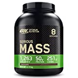 Optimum Nutrition Serious Mass Weight Gainer (mit Kohlenhydrate, Whey Eiweißmischung Pulver, Vitaminen, Kreatin und Glutamin, Protein Shake von ON) Chocolate, 8 Portionen, 2,73kg