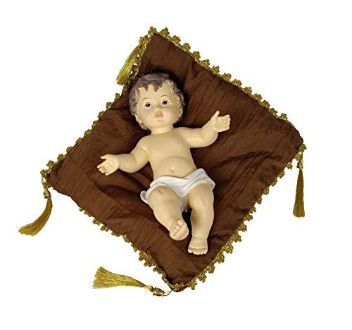 DRW Niño Jesús con cojín marrón y Dorado 28 cm (sin Vestir)