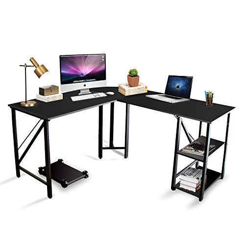 Bizzoelife 59'x66' Large L Shaped Round Corner Computer Desk, Reversible Home Office PC Laptop Gaming Table with CPU Stand and Shelf, Wood & Steel Writing Study Workstation for Space-Saving (Beige)