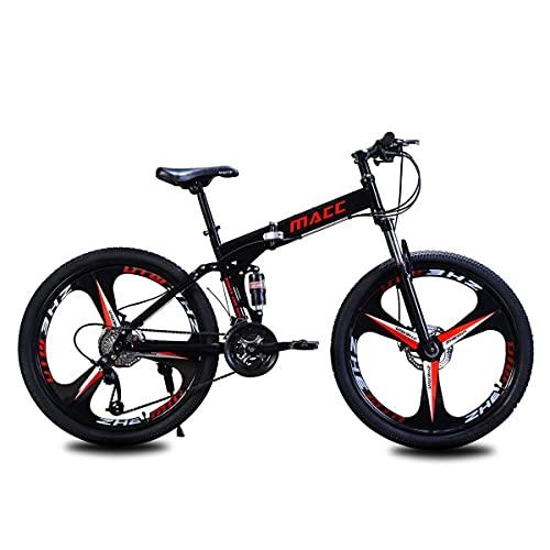 21/24/27 Velocidades para Hombres O Mujeres Marco Plegable MTB Bicicleta De MontañA Plegable con SuspensióN Completa De 26'Bicicleta Freno De Disco Doble Bicicleta De MontañA