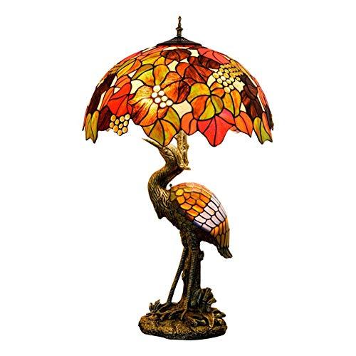 Diseño Personalizado Hombre del estilo de Tiffany lámpara de escritorio de la grúa, 50CM Brown uva pantalla de cristal, luz de la noche Adecuado for su estilo de Tiffany cubierta Habitación Decorar lá