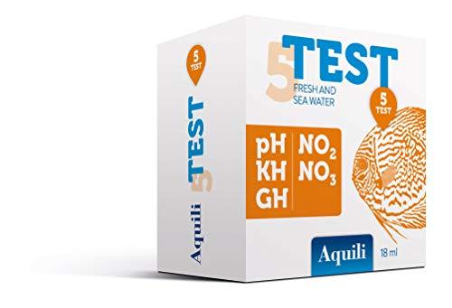 Aquili TST001 Set 5 in 1 - PH - GH - KH - No2 - No3, Reagenti da 18 Ml