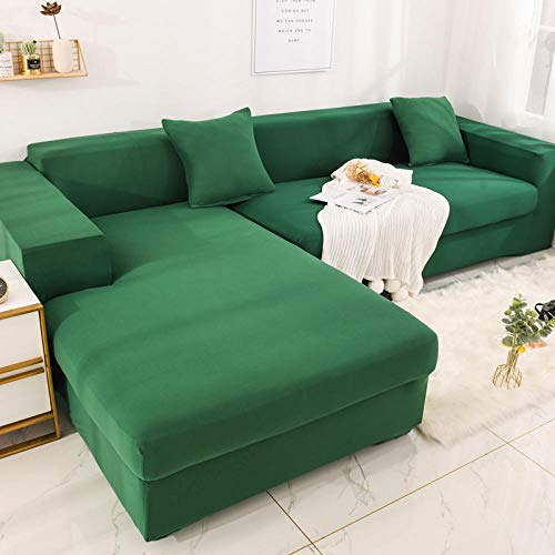 Fsogasilttlv Sofabettbezug Einfarbig rutschfest 2 Seater,Elastic Sofa Cover for Living Room Stretch, Couch Cover L Shaped Pets Corner Sofas Covers Chaise Slipcover 145-185cm