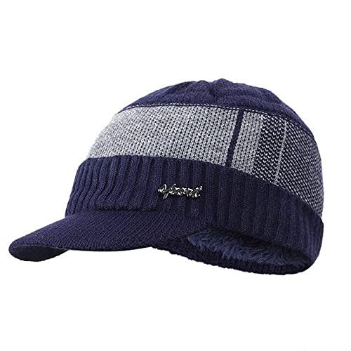 Sombrero Hombre Otoño Invierno Tejido Plus Terciopelo Cálido Algodón Lana Sombrero A Prueba De Viento Moda-Azul Marino
