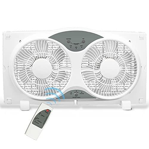 "BEYOND BREEZE Premium 9"" Twin Window Fan 3-Speed Reversible Airflow Blades, 3-Function Expandable Twin Window Fan with Remote Control (Min. 23.5"" Max. 37"")"