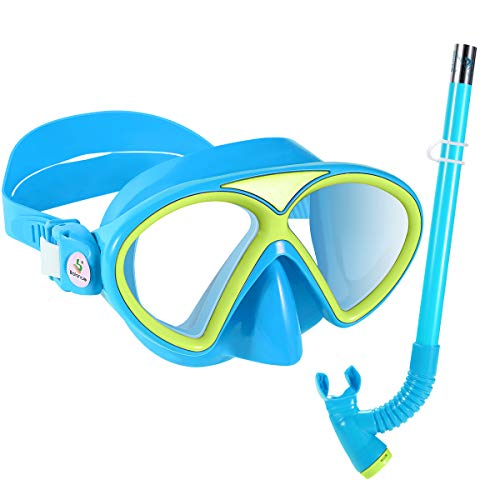 KUYOU Kids Snorkel Set, Children Anti-Fog Scuba Diving Mask Swimming Goggles Semi-Dry Snorkel Equipment Snorkeling Packages Swimming Gear Age 4 Plus for Youth Boys Girls (Blue)