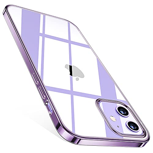 TORRAS Crystal Clear für iPhone 12 Mini Hülle Transparent, (Vergilbungsfrei) Dünn Militärschutz Handyhülle iPhone 12 Mini Case, Flexibles Silikon Kratzfest Schutzhülle iPhone 12 Mini, Violett