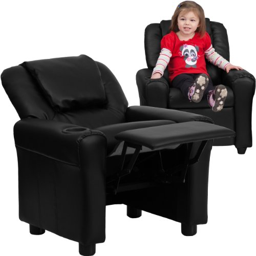 Flash Furniture Contemporary Black LeatherSoft Kids Recliner with Cup Holder and Headrest