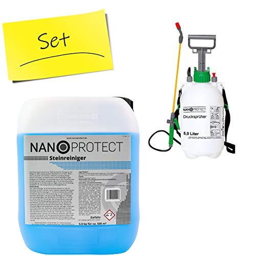 Nanoprotect Steinreiniger Konzentrat   5 kg inkl. Drucksprüher   Für ca. 500 m²   Intensivreiniger für Außenanlagen   Ideal für Haus, Hof und Garten