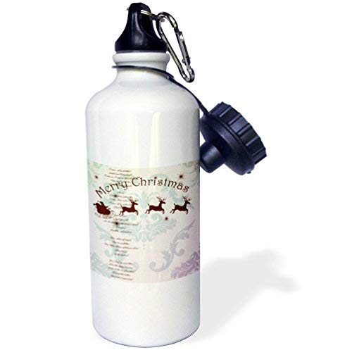 ANGELA G Vintage Kerstman Slee met Kerstmis Carol Sport Waterfles, 21 oz, Wit RVS Waterfles